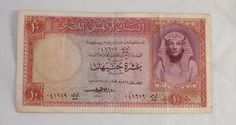 1959 Egypt 10 Pounds Banknote Pick Number 32 Very Fine or Better