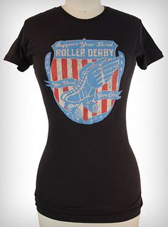 """plasticland.cm -Give Blood Roller Derby Tee     0 reviews     This bad-ass """"Give Blood"""" roller derby tee, by Lucky 13, is a must have for any blood thirsty derby girl! The distressed print gives it a vintage look.   * Fits Runs Slightly Small   * Length: 24""""   * 100% Cotton   $26.00"""