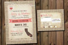 Rustic Wedding Invitations Suite with lights Burlap by Silvergaze