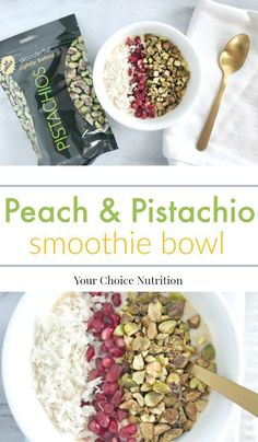 #ad This healthy Peach & Pistachio Smoothie Bowl is a delicious way to start the day! | recipe via www.yourchoicenutrition.com #yourchoicenutrition #food #recipe #healthyeating #glutenfree #healthylifestyle #dietitian #dietitianapproved #breakfast #healthyrecipe #thereciperedux #getcrackin #pistachios #smoothie #smoothiebowl #peach