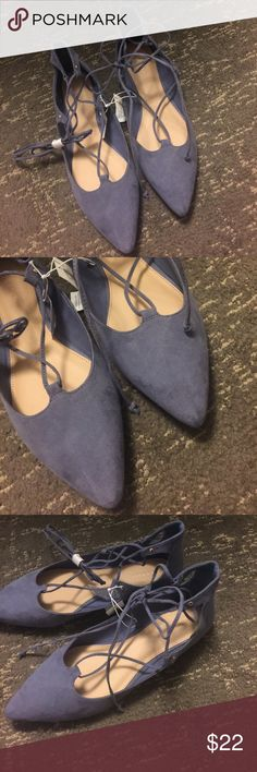 Blue suede lace up ballet pointed flats Blue suede lace up pointed toe ballet flats Shoes Flats & Loafers