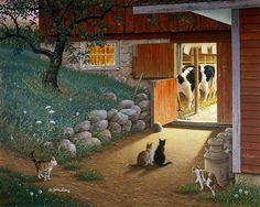 """John Sloane- :Early Risers"""", a charming farm scene, with a group of hungry cats waiting patiently for the kind-hearted farmer to give each one a bit of sweet creamy milk after the pre-dawn milking. Since all the cats are gathering together at the same time, we may assume that this is actually a regular early-morning ritual for everyone."""