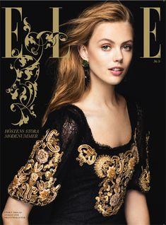 Frida Gustavsson/ dress Dolce & Gabbana/photo: Jimmy Backius - Elle Sweden.