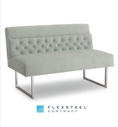 Timeless elegance abounds in this stunning armless bench. The tight upholstery is contrasted by the rich texture of the button tufted in-back. Sled base metal legs in a chrome finish add a pop of contrast ensuring this bench becomes a statement piece for any property.