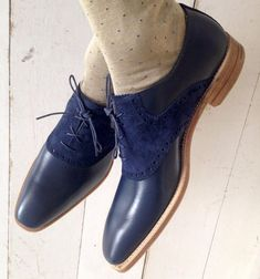 597baf78bc2c Handmade men Navy blue Suede and leather shoes