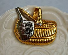 Vintage liz claiborne Picnic Basket Brooch by serendipitytreasure, $14.00