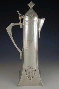 Art Nouveau - Pewter Claret Jug with Secessionist Decoration - Manufacture WMF - Country Germany -c.1906 - 37cms high.