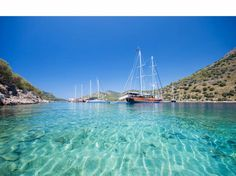A gulet boat on the famous turquoise waters of Turkey
