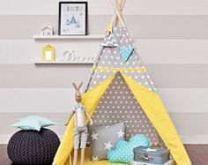 Teepee play tent is a great hiding place for your child at any time of the year. You can enjoy it at home, on the terrace, balcony or garden. Decorate any interior and give comfort.  The tent is lightweight and easy to assemble, so you can freely move and rearrange. Made up of two color fabrics. It has a charming window, and commonly established laps. Inside it has 2 pockets for treasures of your child. It includes free of charge decorative pendant!  For sale is teepee set Elegant Brown…