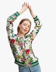 At Stradivarius you'll find 1 Bomber jacket with print for just 25.99 United Kingdom . Visit now to discover this and more Ready. Steady. Spring..