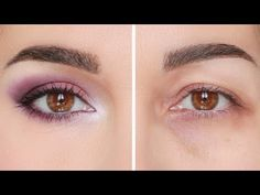 Falling eyelid makeup, swollen eyes: aubergine and rose. Make up lifting effect . Eye Makeup Cut Crease, Eye Makeup Steps, Cat Eye Makeup, Simple Eye Makeup, Hooded Eye Makeup Tutorial, Eyeshadow For Blue Eyes, Makeup Over 40, Kajal Eyeliner, Smoky Eyes