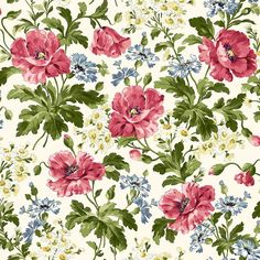 """Poppies~Large Flowers-White~Floral Cotton Fabric, Quilt,~Maywood Studio~Fast Shipping F693  $10.95  44"""""""