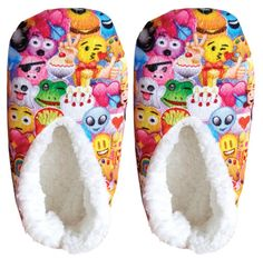 Warm up those toes with these adorable and fuzzy emoji collage slippers! Available in three girl's shoe sizes: - 13-1, 2-3, 4-5 Available adult shoes sizes: - Small (5-6) - Medium (7-8)
