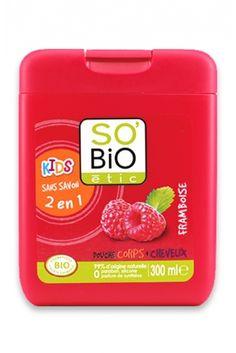 Le Gel douche corps et cheveux à la Framboise So Bio etic http://www.ayanature.com/fr/gels-douche-et-savons-bio/293-gel-douche-bio-framboise-kids-2-en-1-so-bio-etic.html