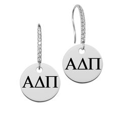 Alpha Delta Pi Omega Greek Letters Round Charm and CZ Earring in Solid Sterling Silver
