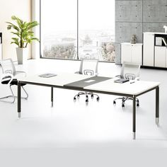 White Modern Large Conference Table Office Furniture Pinterest - Large white conference table