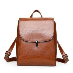 KMFFLY Vintage oil wax PU Leather trave Backpack School Bags For Teenagers Casual Brown backpack Women Mochila Sac A Dos Femme