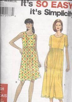 Simplicity 8190 Babydoll Dress in Two Lengths It's So EASY pattern UNCUT