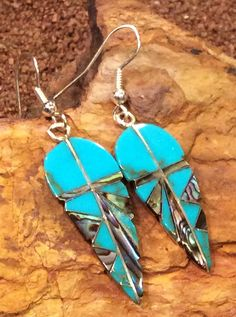 Native American Jewelry Sterling Silver Turquoise Inlaid