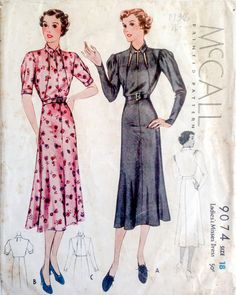 McCall 9074 | 1930s Ladies' & Misses' Dress