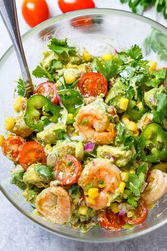 Shrimp Avocado Corn Salad - A tasty and healthy salad recipe perfect for a nourishing lunch on a hot summer day. : Shrimp Avocado Corn Salad - A tasty and healthy salad recipe perfect for a nourishing lunch on a hot summer day. Corn Salad Recipes, Best Salad Recipes, Corn Salads, Corn Avocado Salad, Shrimp Avocado, Prawn Salad, Seafood Salad, Grilled Prawns, Grilled Seafood