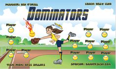 Dominators digitally printed vinyl Softball sports team banner. Made in the USA and shipped fast by Banners USA. http://www.bannersusa.com/art/templates_2/digital/banners/DSB_banners.php