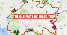 This Map Will Take You On The Most Epic Road Trip Through BC Anyone's Ever Been On - - Your guide through the province. Road Trip Map, Road Trip Hacks, Road Trips, Family Vacation Destinations, Travel Destinations, Family Vacations, Cruise Vacation, Disney Cruise, Voyage Canada