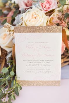 gold and pink wedding invites #weddinginvitations @weddingchicks