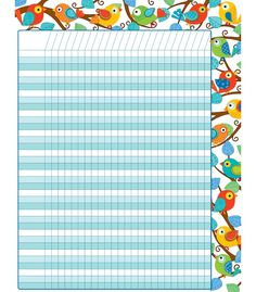 """Students will look forward to tracking progress and reaching goals with this contemporary Boho Birds Incentive chartlet! With enough space to fit multiple assignments or goals, use this chart to keep track of completed assignments, reward positive behavior, and motivate students to reach goals. Includes one chart measuring 17"""" x 22"""". Look for coordinating products in the Boho Birds design to create an exciting classroom theme!"""
