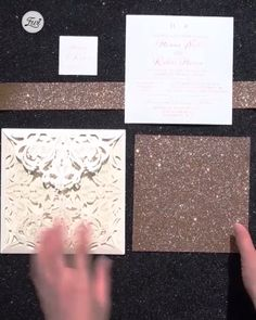 Lush Rose Gold Foil Pressed Laser Cut Invitations with Glittery Bottom Card and Belly Band EWTS038