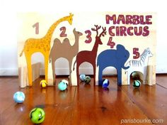 Marble Circus - One House, some children and few marbles = marbles everywhere. Now with the Wooden Marble Circus, all marbles are going in the same spot! Indoor Activities, Activities For Kids, Crafts For Kids, Group Activities, Cool Diy, Fun Diy, Circus Game, Fun Bowling, Marble Games