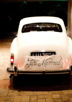 Make your getaway in this classic car from Blue Diamond Limousines!  Photo by Jess Barfield Photography  #wedding #limos #getaway transportation themarriedapp.com hearted <3