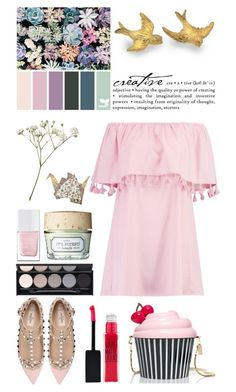 """""""Cherry Cupcake"""" by lysianna ❤ liked on Polyvore featuring Boohoo, Kate Spade, WALL, Witchery, Benefit, The Hand & Foot Spa, Valentino and Maybelline"""