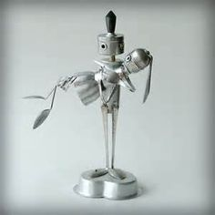 Over the Threshold -wedding cake topper robot recycled art sculpture