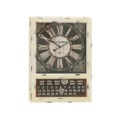 As design goes, this one is off the charts. The Timed Out Distressed Clock sports an absolutely stunning analog face with Roman numerals, and a bonus calendar with months in the French language. It's t...  Find the Timed Out Distressed Clock, as seen in the Lovely French Farmhouse Collection at http://dotandbo.com/collections/lovely-french-farmhouse?utm_source=pinterest&utm_medium=organic&db_sku=106188