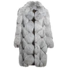 LISKA 'Lynn' fox fur coat ($6,290) ❤ liked on Polyvore featuring outerwear, coats, jackets, fur, oversized lapel coat, blue quilted coat, grey coat, gray coat and lapel coat