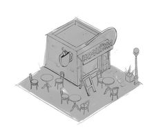 Quick concept for isometric cafe 02  ARTSTATION: https://www.artstation.com/artist/nickprokoart