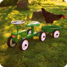 Children's Green Ride On Tractor and Trailer Set