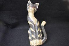 Vintage Folk Art Painted Wooden Cat, Cat Wall Hanging, Rustic Hand Made Wooden Painted Cat Wall Decor, Carved Painted Cat Wall Folk Art by FabulousVintageStore on Etsy