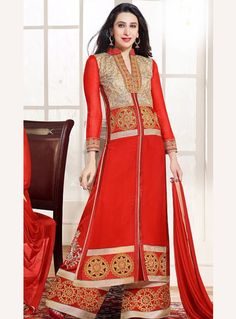 Karisma Kapoor Red Georgette Palazzo Style Suit 89949