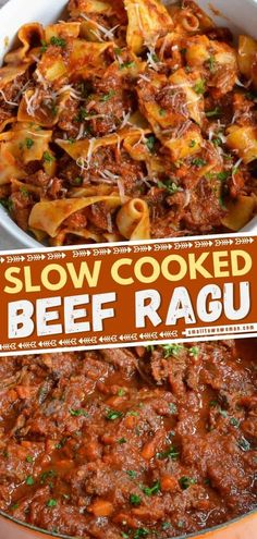 Here's an easy dinner idea for tonight! Slow-cooked to perfection and served over pappardelle pasta, this Beef Ragu recipe is pure comfort food. Your family will love this hearty meal! Save this pin! Slow Cooker Recipes, Crockpot Recipes, Cooking Recipes, Top Recipes, Casserole Recipes, Yummy Recipes, Beef Dishes, Pasta Dishes, Pasta Meals