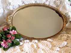 Victorian Style Mirrored Tray Ornate Vanity Mirror by LasLovelies