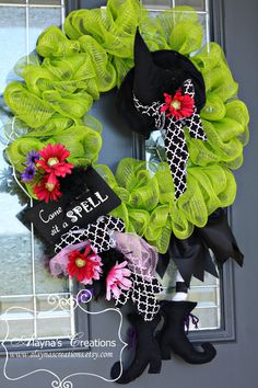 Come In and Sit a Spell Halloween Witch Wreath. $50.00, via Etsy.