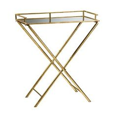 Amazon.com: Hollywood Regency Gold Leaf Bamboo Mirrored Tray Table: Furniture & Decor