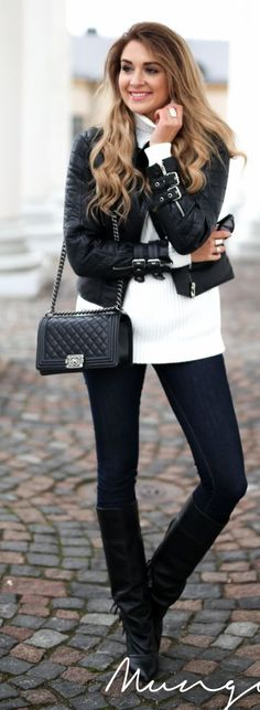 Buckled Sleeve Biker Jacket Outfit Idea by Mungolife..love!!! That jacket and those BOOTS!! Want..