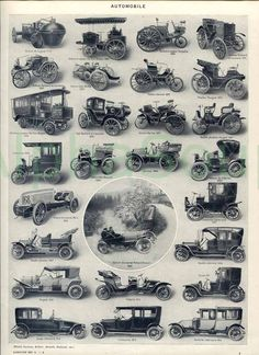Vintage Automobiles Cars Buses Trucks French 1920's 2 Sided Original Antique Illustration. $12.00, via  I chose this picture because instead of all the different types of trucks, in the 1920s it was all about the different types of automobiles.