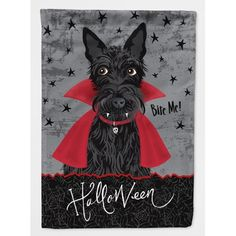 Caroline's Treasures Halloween Vampire Scottie Flag Canvas House Size at Lowe's. Heavy Duty Polyester House Size Flag that measures approximately 28 x 40 inches. This is a sleeve pole flag that will fit a standard decorative flag pole. Halloween Vampire, Dog Halloween, Halloween Pictures, Halloween House, Vintage Halloween, Big Dogs, Dogs And Puppies, Doggies, Wooden Flag Pole