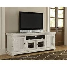 Progressive Furniture Willow 74 in. Distressed White Entertainment Console – The Home Depot – living White Tv Stands, Solid Wood Tv Stand, Audio Room, Coffee Table With Storage, Shabby Chic Furniture, Entertainment Furniture, Furniture Ads, Bedroom Furniture, Adjustable Shelving
