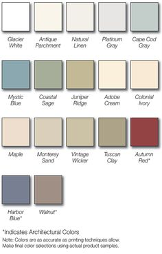 Vinyl Siding Color Chart Vinyl Siding Colors Siding