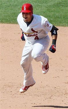 Louis Cardinals' Yadier Molina celebrates after driving in the game-winning run with a single in the ninth inning against the Chicago Cubs in a baseball game Tuesday, May in St. The Cardinals won (AP Photo/St. Cardinals Win, Cardinals Baseball, St Louis Cardinals, Baseball Games, Baseball Players, Baseball Quotes, Funny Baseball, Baseball Pictures, Sports Baseball
